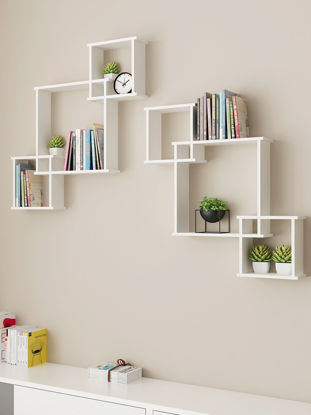 Picture of 1 Set Wall Storage Rack Unique Novelty Connected Plaids Wall Decor