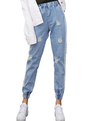 Picture of Women's Jeans Vintage High Waist Ripped Holes Side Striped Casual Pants