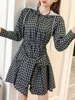 Picture of Women's Dress Long Sleeve Plaid Pattern Hooded Ethnic Dress