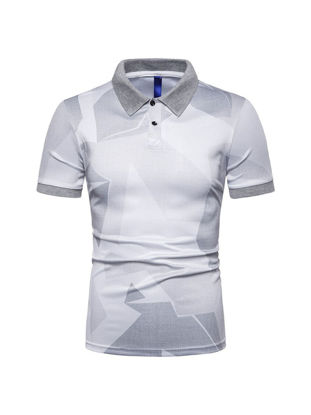 Picture of Men's Polo Shirt All-Match Printed Short Sleeve Simple Top