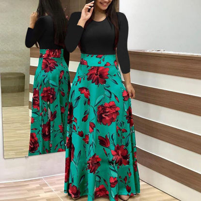 Picture of Women's Aline Dress Patchwork Floral Long Sleeve O Neck Maxi Long Dress