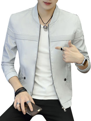 Picture of Men's Casual Jacket Comfy Zipper Solid Color Long Sleeve Jacket