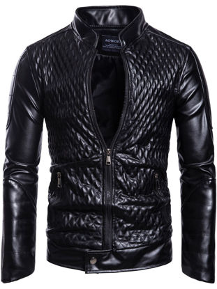Picture of Men's Synthetic Leather Jacket Trend Stylish Grid Stand Collar Zipper Plus Size Jacket
