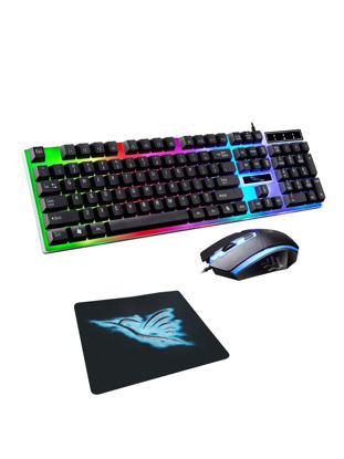 Picture of Keyboard Mouse And Mouse Pad Set 104 Keys Ergonomic Design Backlit Keyboard Kit G21