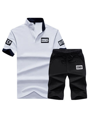 Picture of Men's 2Pcs Set Short Sleeve Polo Shirt Casual Sports Shorts Set