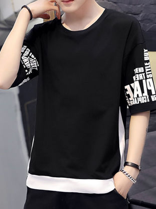 Picture of Men's T-Shirt Fashion O Neck Half Sleeve Patchwork Pattern Top