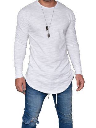 Picture of Men'sT Shirt  Solid Color Long Sleeve Design Fashion Top