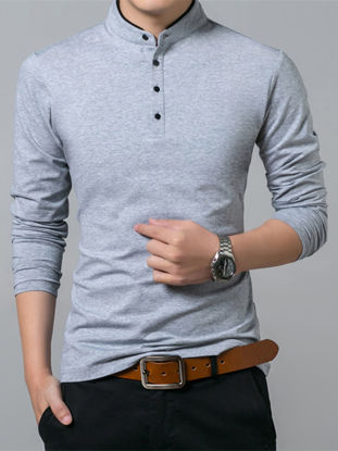 Picture of Men's Polo Shirt Solid Color Casual Light Weight Long Sleeve Polo Shirt