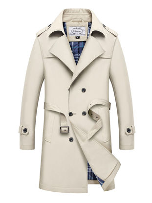 Picture of Men's Trench Coat Waistband Design Double Breasted Notched Neck Plus Size Trench Coat