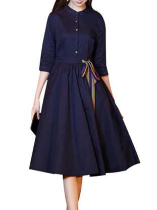Picture of Women's Dress Stand Collar Three Quarters Sleeve Solid Color Midi Aline Dress