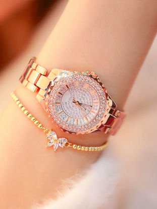 Picture of Women's Fashion Watch Brief Design Luxury Rhinestone Decor Round Dial Quartz Watch