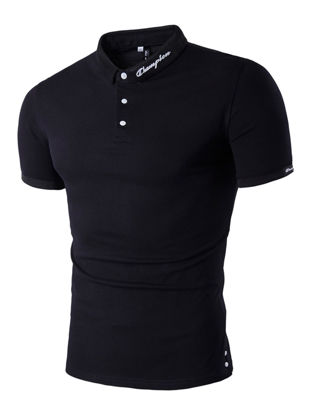 Picture of Men's Polo Shirt Solid Color Stylish Comfy Slim Polo Shirt