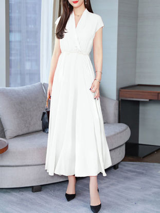 Picture of Women's Aline Dress Casual V Neck Short Sleeve Solid Color Dress