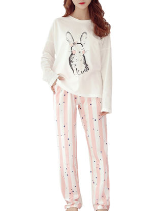 Picture of Maternity Pajamas 2Pcs Cartoon Pattern O Neck Top Stripes Casual Trousers
