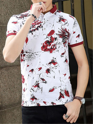 Picture of Men's Polo Shirts Floral Pattern Turn Down Collar Plus Size Classic All Match Breathable Top
