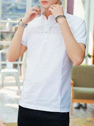 Picture of Men's Polo Shirt Turn Down Collar Striped Pattern Short Sleeve Comfy Top