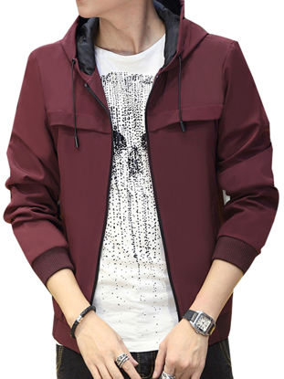 Picture of Men's Jacket Solid Color Hooded Drawstring Zipper Casual Stylish Coat
