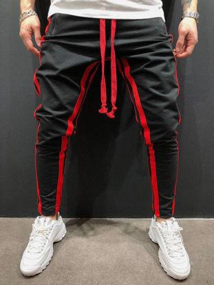 Picture of Men's Casual Pants Color Block Patchwork Trousers