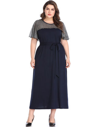 Picture of Women's Aline Dress Plus Size O Neck Patchwork Top