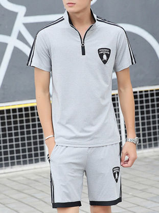 Picture of Men's Active Tracksuit Stand Collar Color Block Top Casual Shorts Set