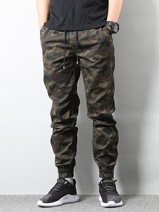 Picture of AKARMY Men's Casual Pants Camouflage Drawstring Pocket Pants