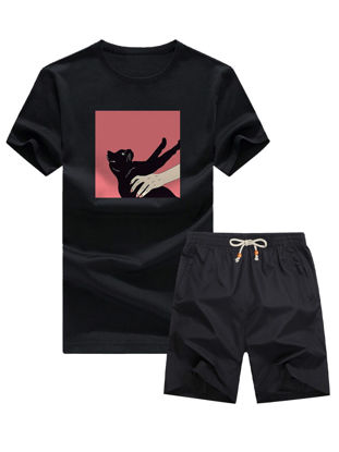 Picture of Men's Two-Piece Shorts Set Casual T Shirt Lacing Design Shorts Suit