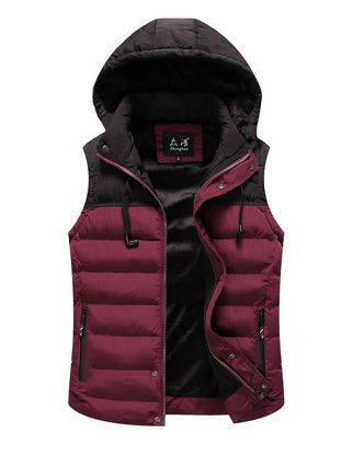 Picture of Men's Vest Jacket Color Block Hooded Fashion Casual Jacket
