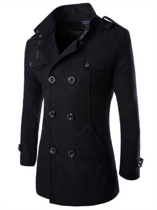 Picture of Men's Winter Coat Solid Double Breasted Casual Warm Overcoat