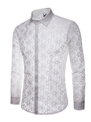 Picture of Men's Shirt Turn Down Collar Long Sleeve Solid Color Lace Top