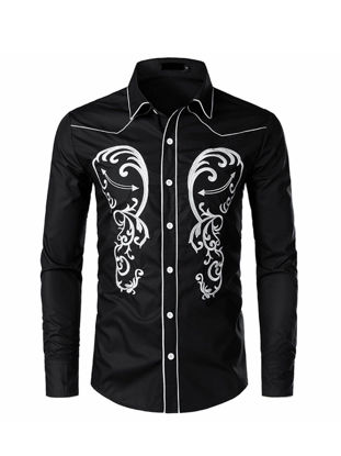 Picture of Men's Shirt Turn Down Collar Long Sleeve Embroidery Color Block Slim Top