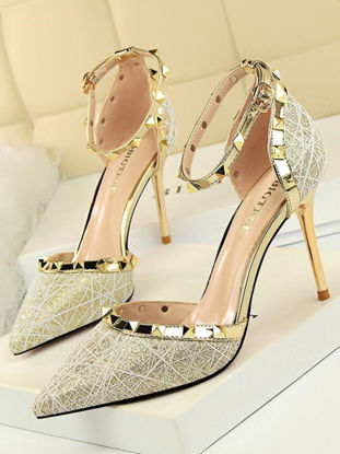 Picture of Women's High-Heeled Pumps Pointed Toe Patchwork Thin Heel Heels