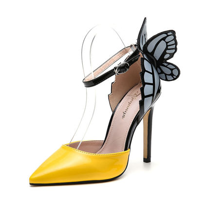 Picture of Women's High Heel Sandals Pointed Toe Butterfly Design Thin Heel Sandals