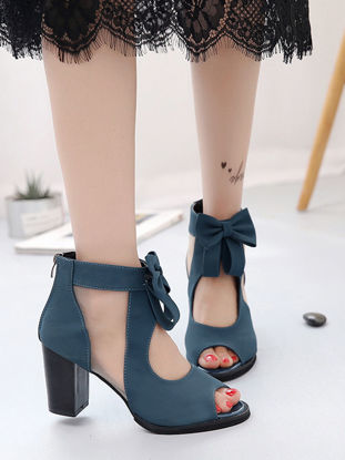 Picture of Women's Peep Toe Sandals Casual Solid Color Breathable All Match High Heels Shoes