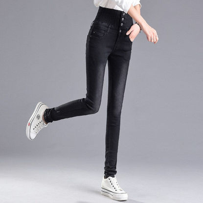 صورة Women's Jeans High Waist Solid Color Slim Pants