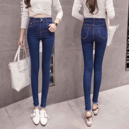 صورة Women's jeans upper and lower burr feet pencil pants nine points pants