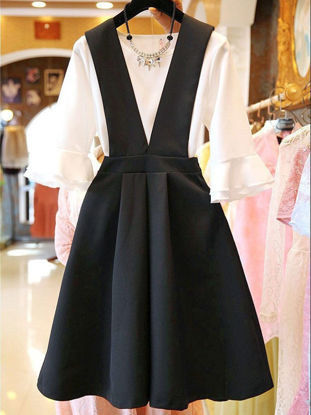 صورة Women's 2Pcs O Neck Flare Sleeve T Shirt Solid Color Suspender Dress