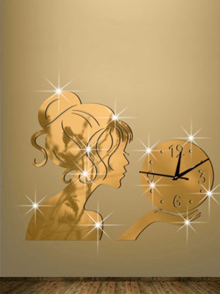 صورة 1Pc 3D Girl Mirror Surface Wall Clock Living Room Bedroom Wall Decorative Clock