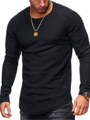 Picture of Men's T-Shirt Fashion Stylish Solid Color Long Sleeve Top