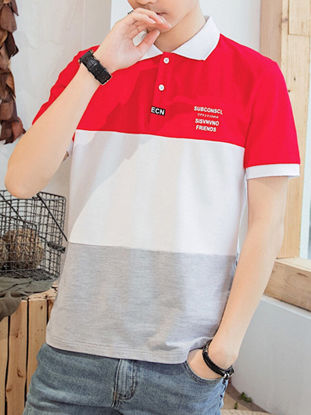 Picture of Men's Polo Shirt Turn Down Collar Short Sleeve Color Block Patchwork Top