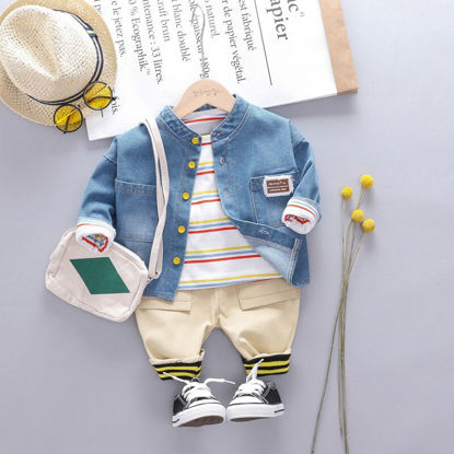 صورة Kid's 3Pcs Casual Suit Stripe O Neck T Shirt Button Shirt Casual Rib Pants Set