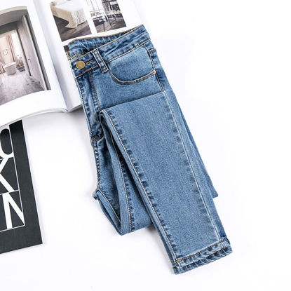 صورة Student high waist jeans women's trousers large size stretch tight feet pencil pants