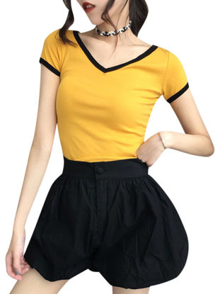 صورة Women's T Shirt Loose Short Sleeve V Neck Top