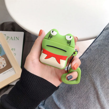Picture of Protective Silicone Case For Apple Airpods Sad Frog Pattern Wireless Bluetooth Earphones Cover