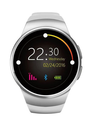 Picture of Kingwear KW18 Bluetooth Touch Screen Smartwatch with SIM/TF Card & Heart Rate Pedometer - Silver