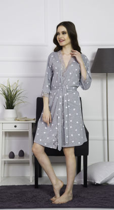 Picture of WOMEN ROBE GRAY MELANGE COTTON