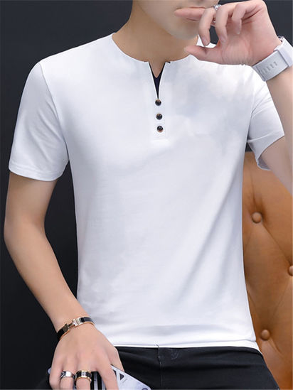 Picture of Men's T Shirt O Neck Short Solid Color Slim Top