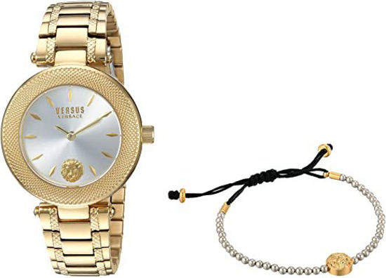 Picture of Versus by Versace Women's Brick Lane Combo Box Quartz Watch with Gold-Plated-Stainless-Steel Strap, 177 (Model: VSP712118)