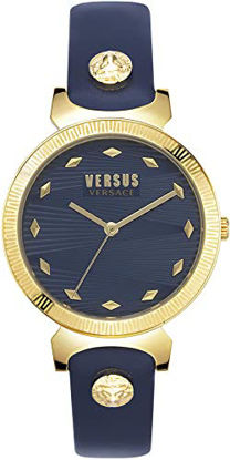 Picture of Versus by Versace Women's Marion Quartz Leather Calfskin Strap, Blue, 14 Casual Watch (Model: VSPEO0219)