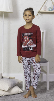 Picture of ENKI BOYS COTTON BORDEAUX PAJAMA SET