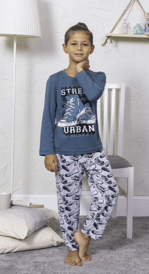 Picture of ENKI BOYS COTTON SILVER PINE PAJAMA SET